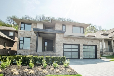 Designs by Santy :: Escarpment Modern Front elevation with stone and stucco