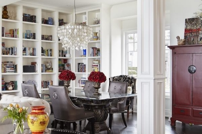 Designs by Santy :: Lakeside Retreat Dining area with column