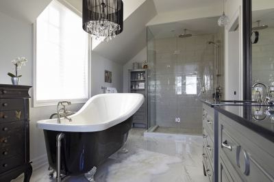 Designs by Santy :: Lakeside Retreat Bathroom with basin tub and walk-in shower