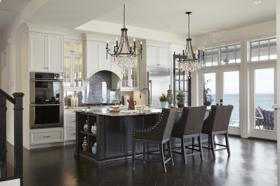 Designs by Santy :: Lakeside Retreat Kitchen with view to patio
