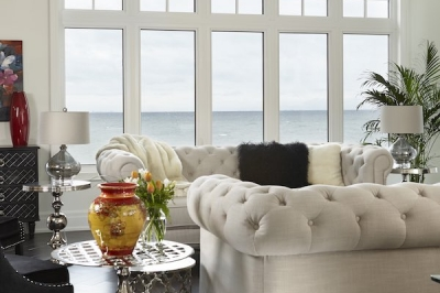 Designs by Santy :: Lakeside Retreat Great room with lake view