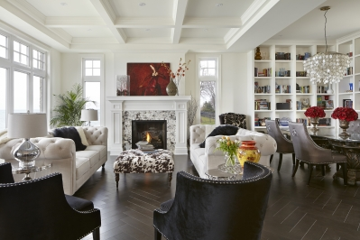 Designs by Santy :: Lakeside Retreat Great room and dining area with fireplace