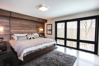 Designs by Santy :: Bridge House Master bedroom with view