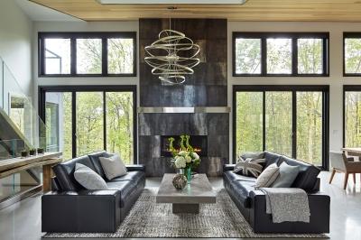 Designs by Santy :: Bridge House Windows around fireplace