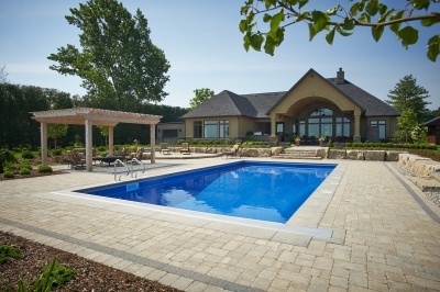 Designs by Santy :: Lakefront Paradise Back elevation with stucco peak and pool deck