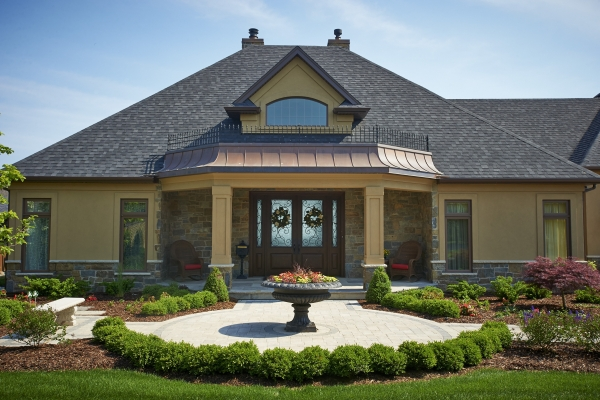 Designs by Santy :: Lakefront Paradise Front elevation with portico and dormer