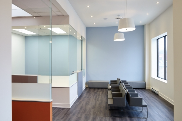 Designs by Santy :: Specialist Office Waiting room with glass partitions and pot lighting