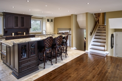 Designs by Santy :: Royal Revival Kitchen with island and staircase