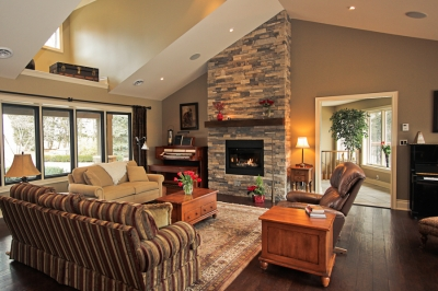 Designs by Santy :: Country Ranch Great room with fireplace, loft ceiling and dormer windows