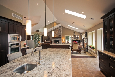 Designs by Santy :: Country Ranch Kitchen view to dining area and great room