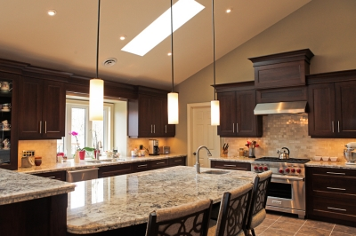 Designs by Santy :: Country Ranch Kitchen with island and skylight