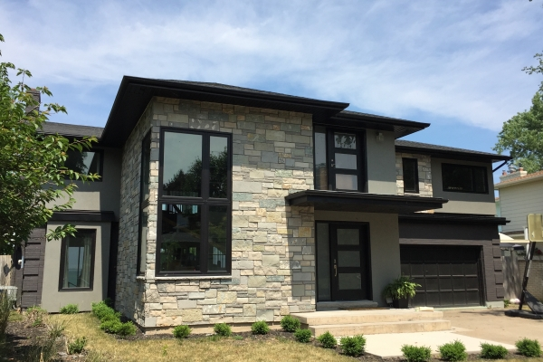 Designs by Santy :: Lakeside Modern Front elevation with stone and stucco