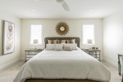Designs by Santy :: Transitional Bungalow Master bedroom with pot lighting