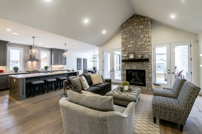 Designs by Santy :: Transitional Bungalow Living room with stone fireplace and vaulted ceiling