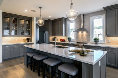 Designs by Santy :: Transitional Bungalow Kitchen with island seating