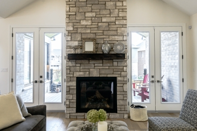Designs by Santy :: Transitional Bungalow Fireplace sitting area with view to porch
