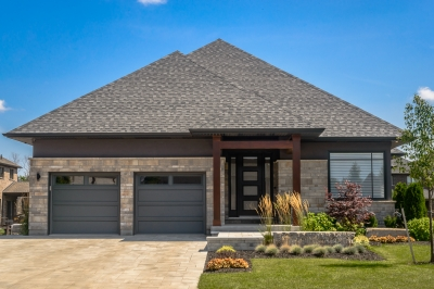 Designs by Santy :: Transitional Bungalow Front exterior with modern-transitional design