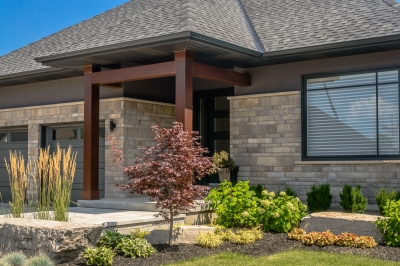 Designs by Santy :: Transitional Bungalow Front exterior with portico and wood posts