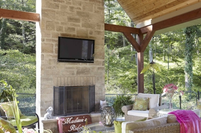 Designs by Santy :: Escarpment Vale House Backyard patio with feature fireplace and vaulted timber ceiling