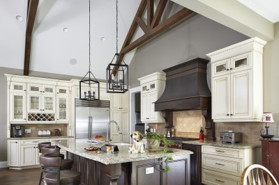 Designs by Santy :: Escarpment Vale House Kitchen with vaulted ceiling and timber bracket