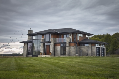 Designs by Santy :: Modern Prairie front exterior with prairie roof and buttress framed windows