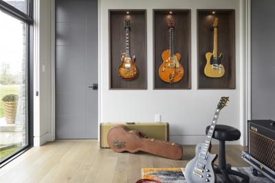 Designs by Santy :: Modern Prairie music den with transom window