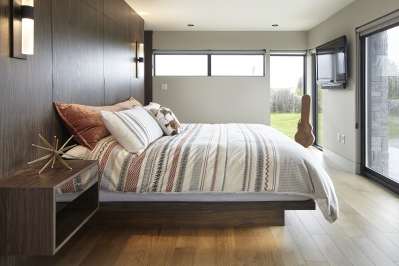 Designs by Santy :: Modern Prairie master bedroom with floating bed