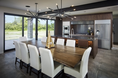 Designs by Santy :: Modern Prairie dining room with view to kitchen