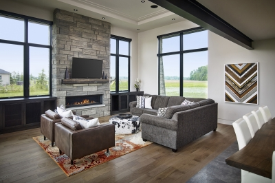 Designs by Santy :: Modern Prairie great room with exposed beam and fireplace
