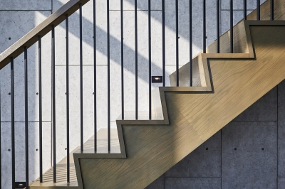 Designs by Santy :: Modern Prairie wood staircase with concrete tile