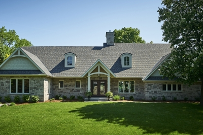 Designs by Santy :: French Country Revival Front exterior with dormers