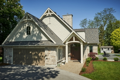 Designs by Santy :: French Country Revival Front exterior with garage and portico