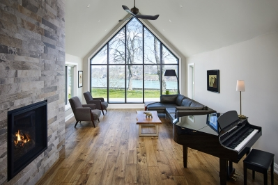 Designs by Santy :: French Country Revival Great room with loft ceiling and feature window