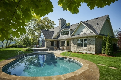Designs by Santy :: French Country Revival Rear exterior with pool