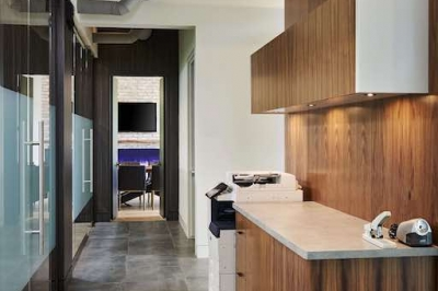 Designs by Santy :: Ravine Office Corridor with industrial detail and glass partitions