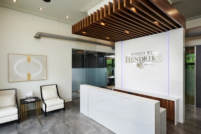 Designs by Santy :: Ravine Office Front reception with industrial detail and marble finish