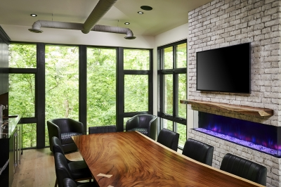 Designs by Santy :: Ravine Office Boardroom with built-in bar, fireplace and full rear glass