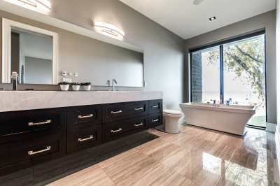 Designs by Santy :: Modern Lakehouse Ensuite with freestanding tub, vanity and lake view