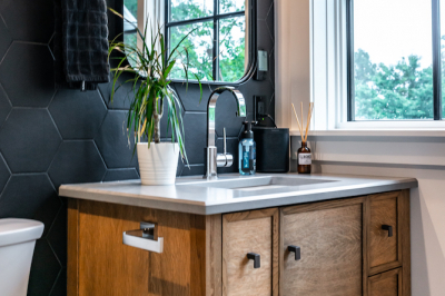 Designs by Santy :: Coastal Farmhouse Bathroom with octagon tile and vanity
