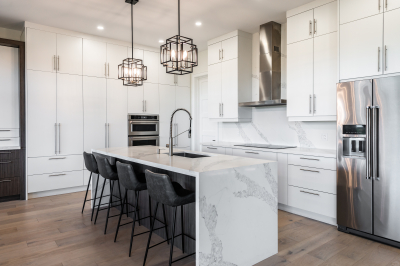 Designs by Santy :: Modern Pilaster Home Kitchen with island, chandeliers and marble finish