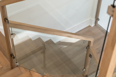 Designs by Santy :: Modern Pilaster Home Staircase and glass rail detail