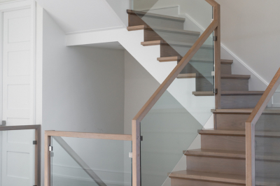 Designs by Santy :: Modern Pilaster Home Staircase with wood finish and glass rail