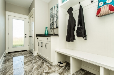Designs by Santy :: Manor House Mudroom with backyard access