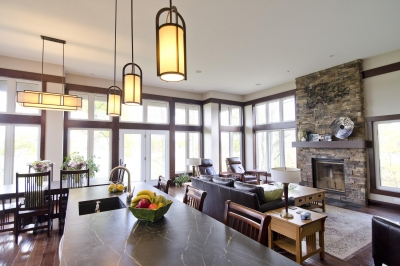 Designs by Santy :: Riverhouse Kitchen view to dining and fireplace