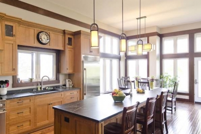 Designs by Santy :: Riverhouse Kitchen with island and transom windows