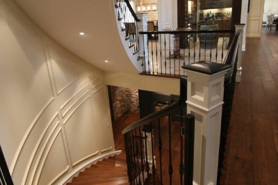 Designs by Santy :: Parkway Playhouse Staircase with view to wine room